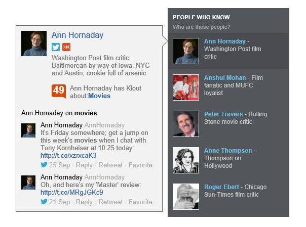 Bing affiche le score Klout dans une barre latérale