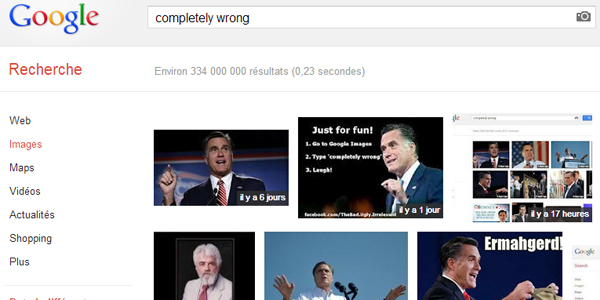 """Google images Mitt Romney """"completely wrong"""""""