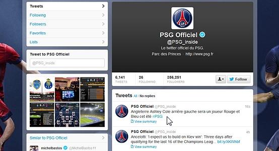 Twitter PSG annonçant Ashley Cole