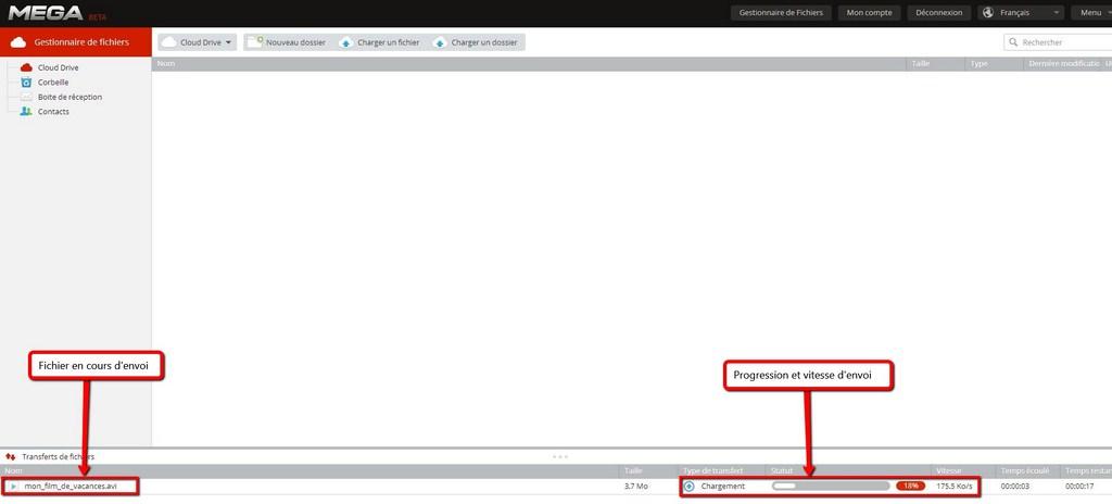 Envoi d'un fichier sur le serveur Mega