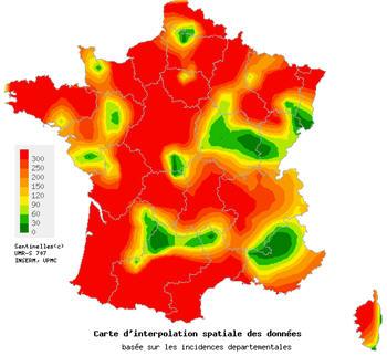 Carte de l'épidémie de gastro-entérite - Hiver 2012