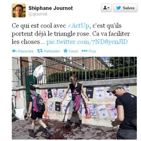 Tweet de Stéphane Journot de l'UMP contre Act Up