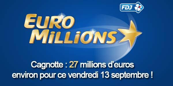 Résultats Euromillions du vendredi 13 stembre