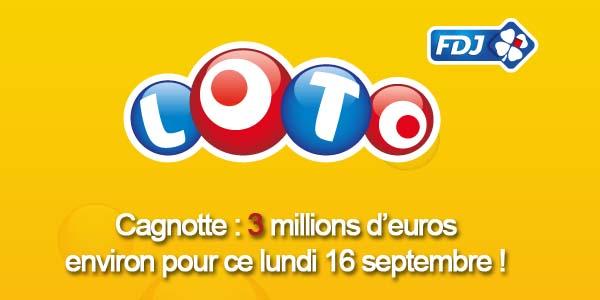 Résultats du loto du lundi 16 septembre