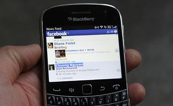 L'application Facebook sur Blackberry