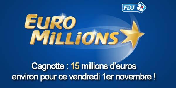 Résultats Euromillions du vendredi 1er novembre
