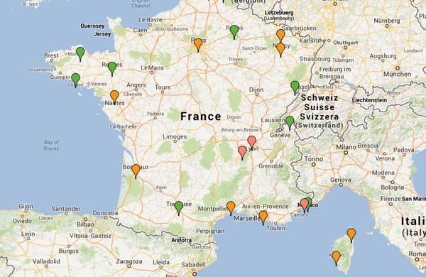 Carte des points chaud des Ultras en France