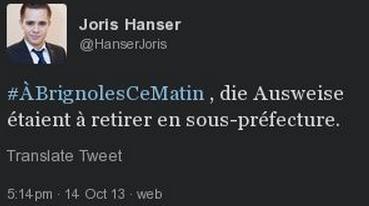 Le tweet de Joris Hanser en cause
