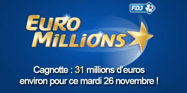 Résultat du tirage Euromillions du mardi 26 novembre