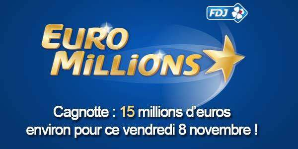 Résultats du tirage Euromillions du vendredi 8 novembre