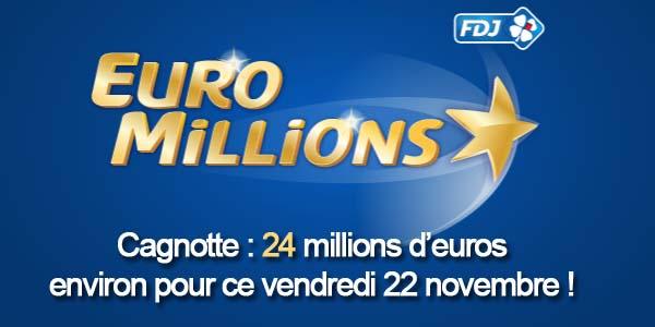 Résultat du tirage Euromillions du vendredi 22 novembre