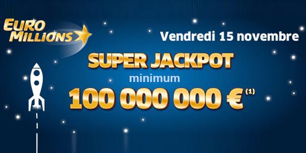Euromillions 15 novembre 2013 : super jackpot de 100 millions d'euros