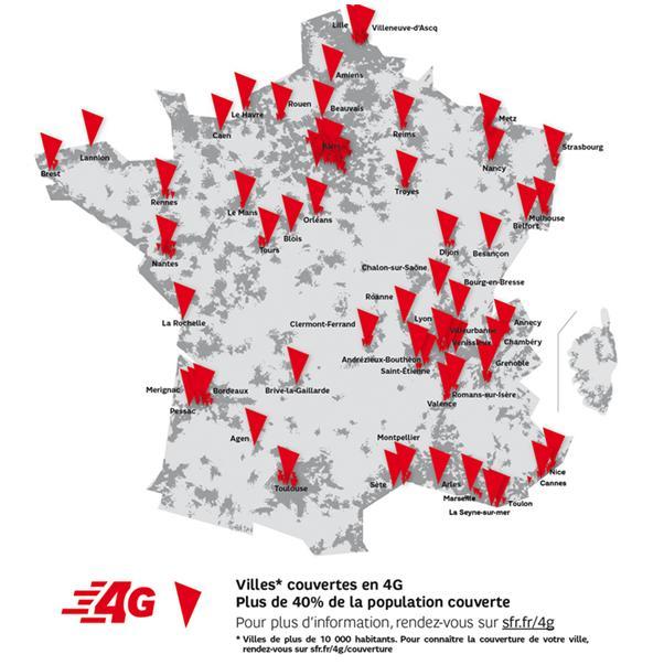 Nombre d'antennes 4G de l'opérateur SFR
