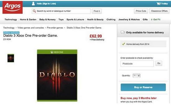 Capture du marchand en ligne proposant Diablo 3 sur Xbox One