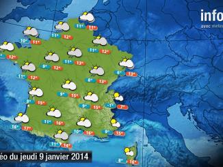 Prévisions météo (France) du jeudi 9 janvier