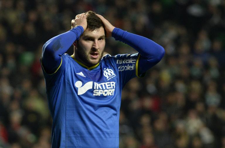 L'attaquant de Marseille André-Pierre Gignac après avoir manqué une occasion contre Saint-Etienne en Ligue 1 le 16 février 2014 à Geoffroy-Guichard