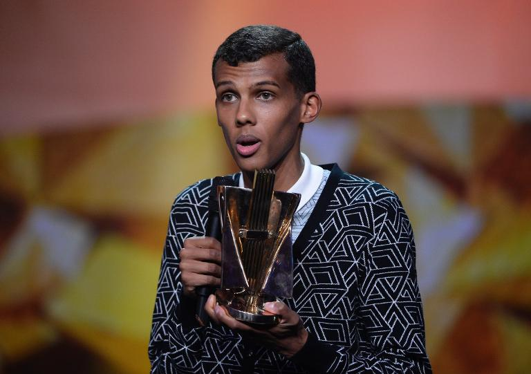 Le chanteur belge Paul Van Haver, alias Stromae, reçoit la Victoire de la Musique du meilleur vidéo-clip, le 14 février 2014 à Paris