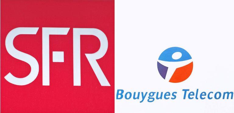 Montage photo des logos de Bouygues et SFR en 2011