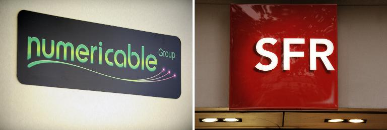 Les logos de Numericable et SFR