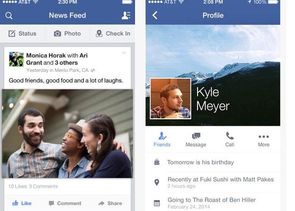 Mise à jour de Facebook sur iOS