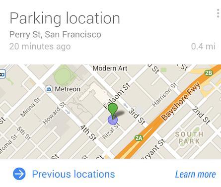 Carte de la localisation de votre véhicule sur Google Now