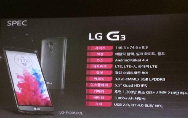 Spécifications techniques du LG G3