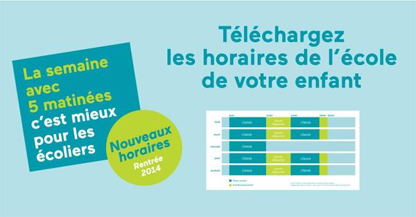 Horaires rentrée 2014 - Crédits : http://5matinees.education.gouv.fr