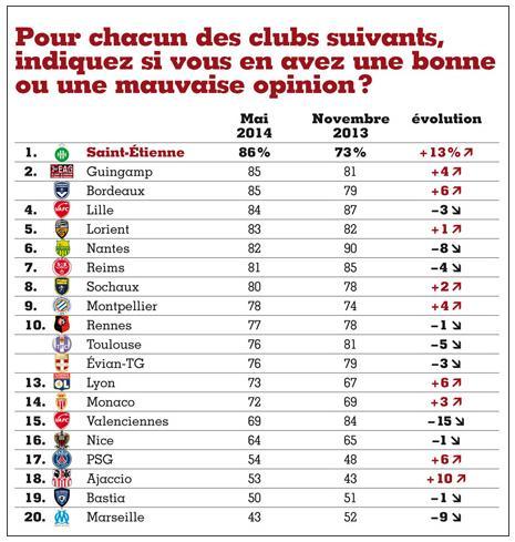 Le club de football de Saint-Etienne est le préféré des Français