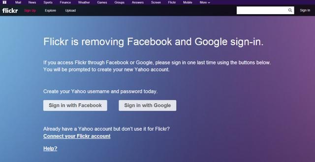La page Flickr annonçant le retrait du login via un compte Facebook ou Google