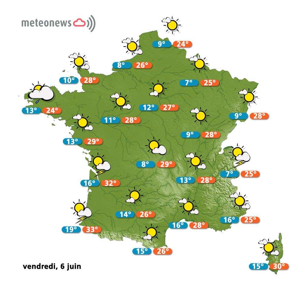 Prévisions météo (France) du vendredi 6 juin 2014