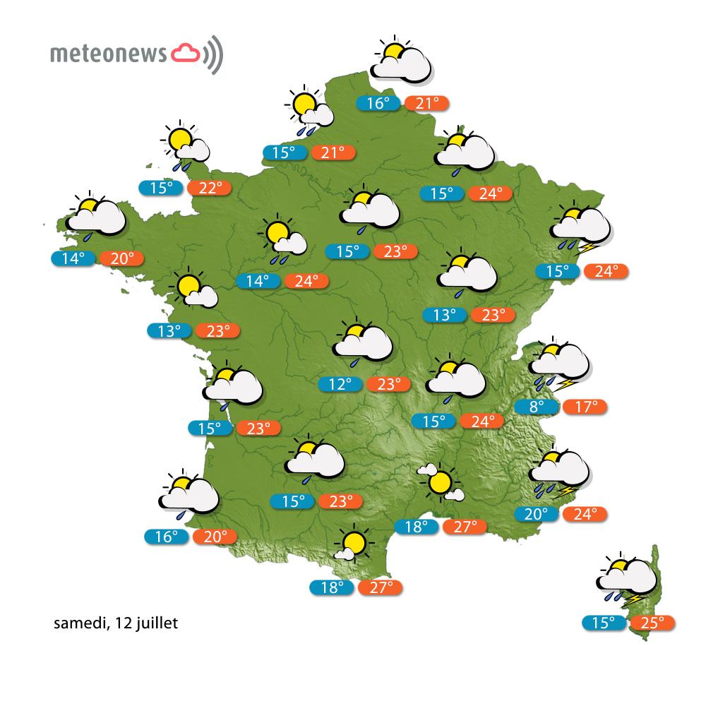Prévisions météo (France) du samedi 12 juillet 2014