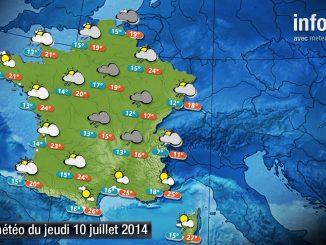 Prévisions météo (France) du jeudi 10 juillet 2014