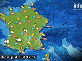 Prévisions météo (France) du jeudi 3 juillet