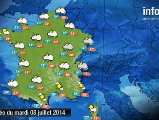 Prévisions météo (France) du mardi 8 juillet 2014
