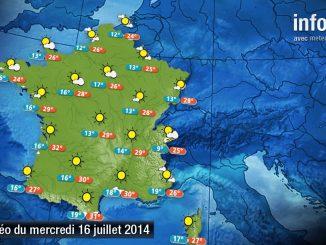 Prévisions météo (France) du mercredi 16 juillet