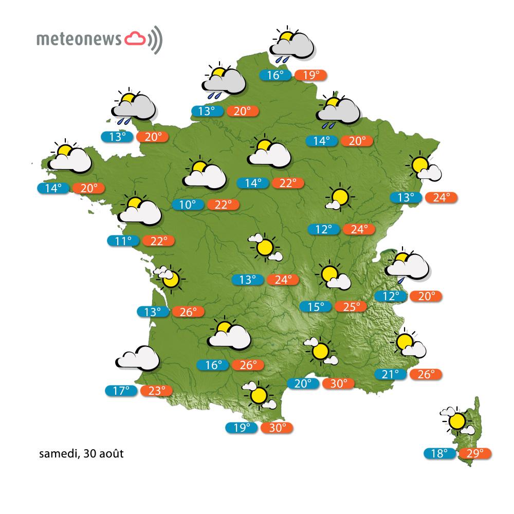 Carte météo France du samedi 30 août 2014