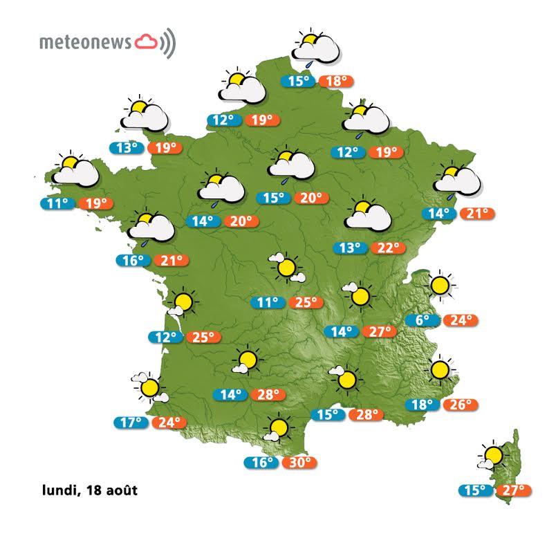 Prévision météo France du lundi 18 août