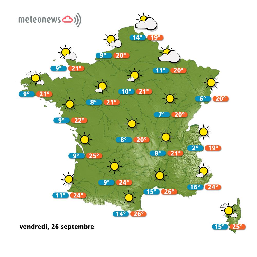 Carte météo France du vendredi 26 septembre 2014