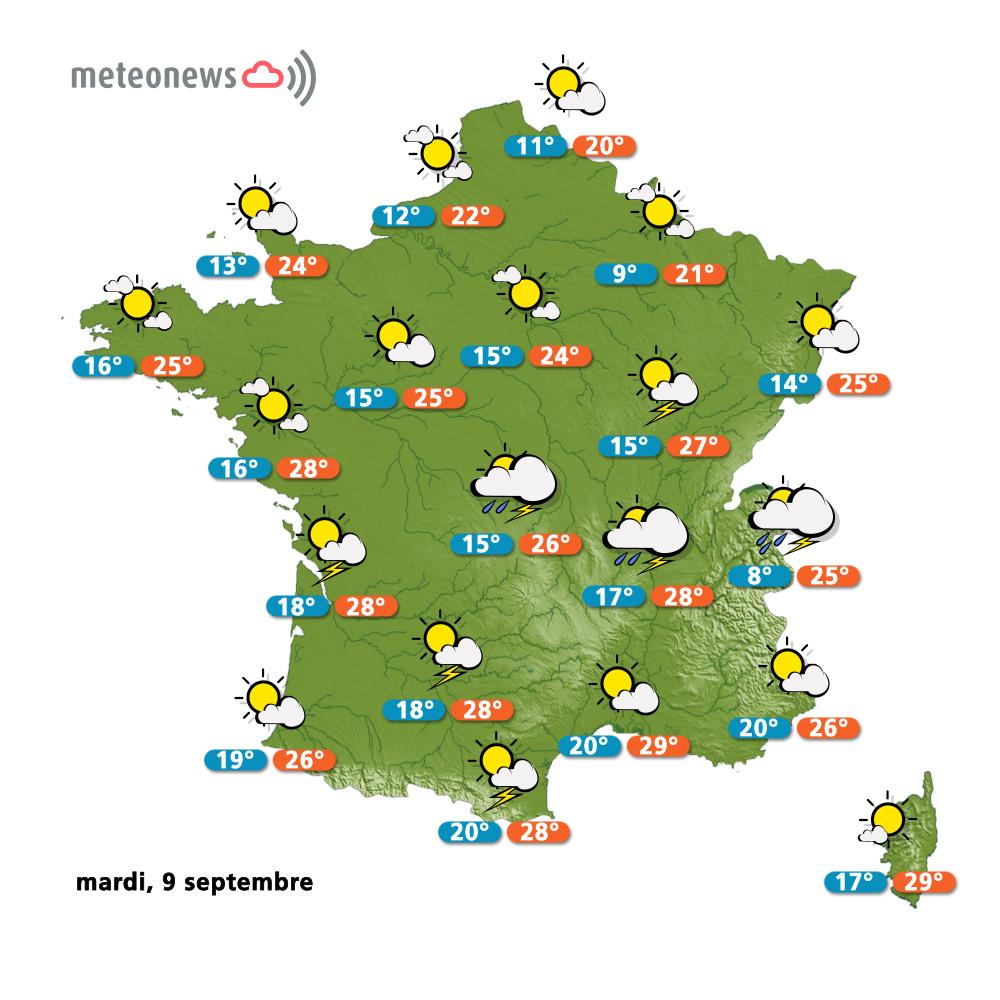 Carte météo France du mardi 9 septembre 2014