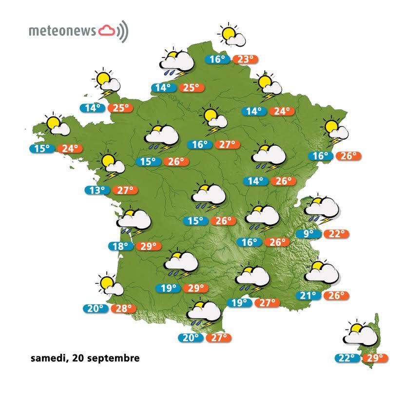 Prévisions météo France du Week-en (20 et 21 septembre)