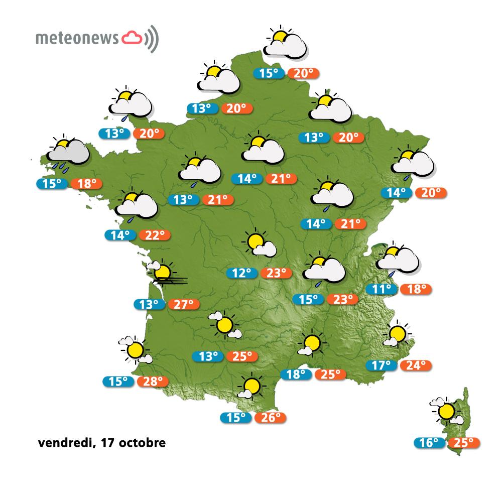 Carte météo France du vendredi 17 octobre 2014