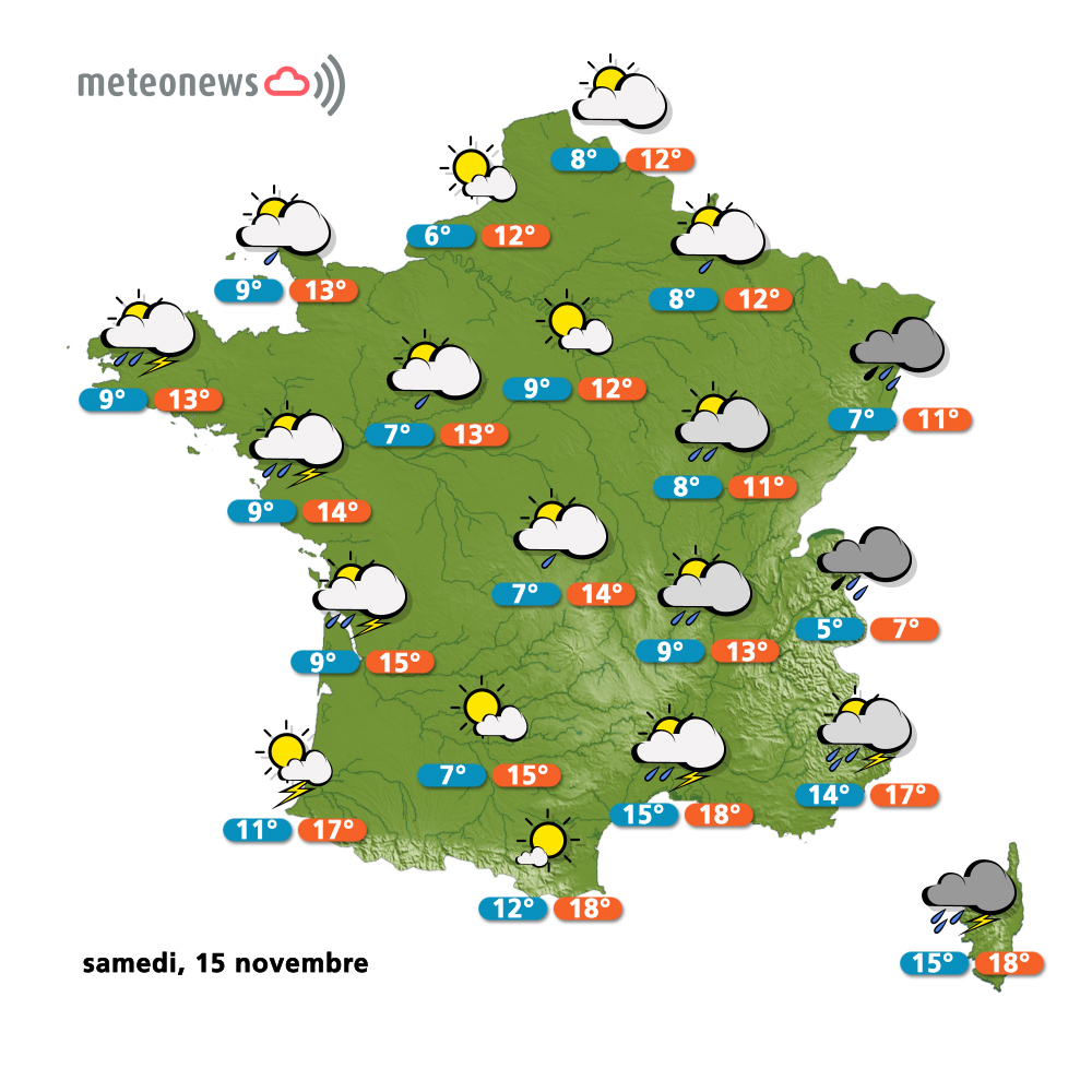 Carte météo France du samedi 15 novembre 2014