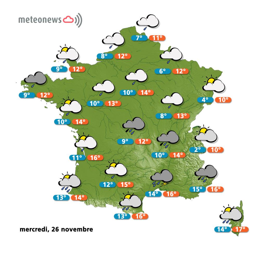 Carte météo France du mercredi 26 novembre 2014
