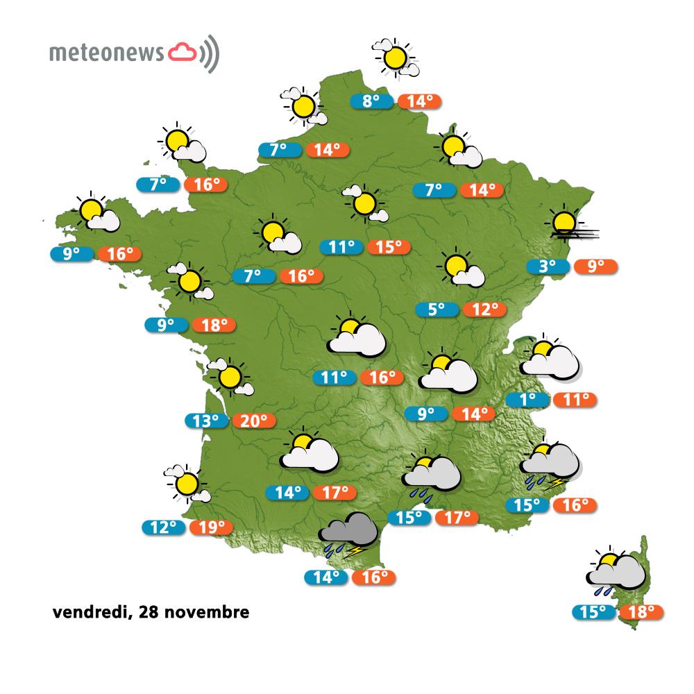 Carte météo France du vendredi 28 novembre 2014