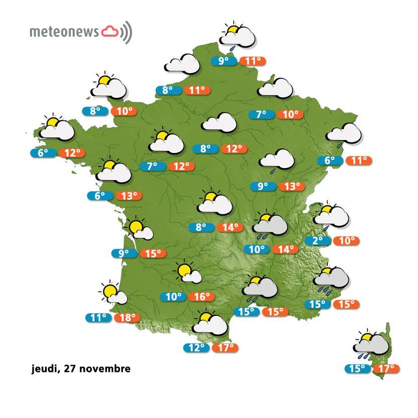 Prévisions météo France du jeudi 27 novembre