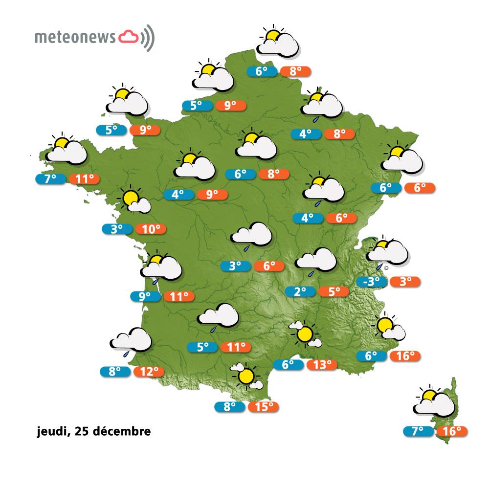 Carte météo du 25 décembre