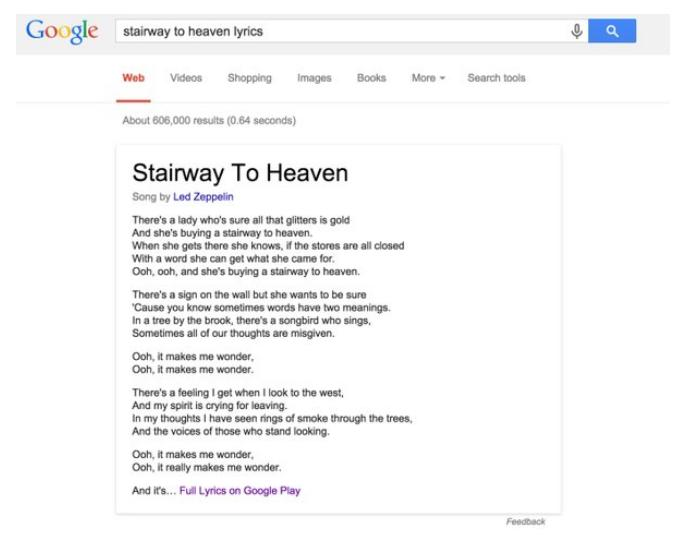 """Les paroles de """"Stairway to Heaven"""" directement affichées par Google"""