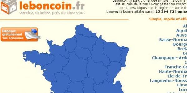Page d'accueil du site Leboncoin.fr