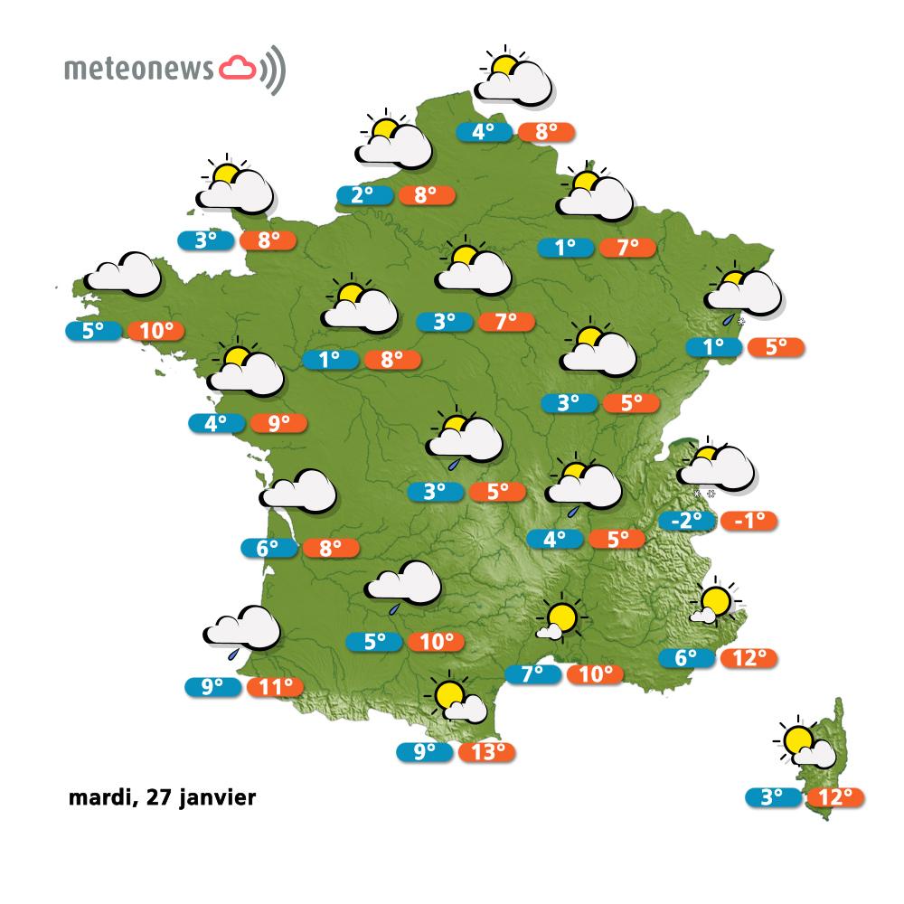 Prévisions météo France du mardi 27  janvier