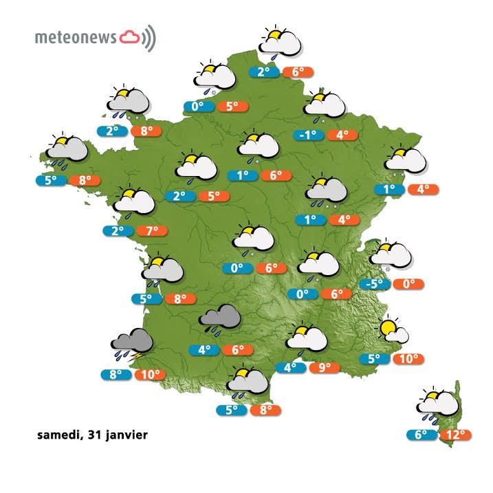 Prévisions météo France du samedi 31 janvier